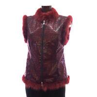 Lederweste mit Pelz rot schwarz Gr.36 Leder Lederjacke Pelzweste Schlangenleder