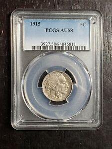 Beautiful 1915 Buffalo Nickel PCGS Graded AU 58 - US Coins