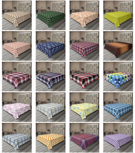 Ambesonne Checkered Flat Sheet Top Sheet Decorative Bedding 6 Sizes