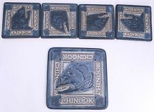 Chinook Salmon Rainbow Trout Pottery 5 Piece Set Trivet 4 Coasters Fishing
