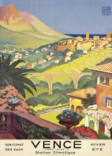 VENCE PRES NICE HIVER ETE, FRANCE French Travel Poster 250gsm A3 Art Deco
