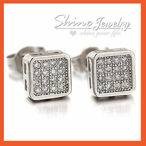 9K WHITE GOLD GF SILVER MEN LADY GIRL SOLID WEDDING CRYSTAL SQUARE STUD EARRINGS