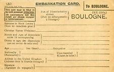 Carte d'embarcation au Port de bOULOGNE SUR MER