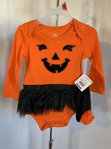 Halloween Newborn Girl's 2 Piece Orange Black Pumpkin Face Tutu Bodysuit NWT