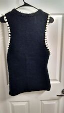 Black Fuzzy Tank Top With Pearl Accents Medium