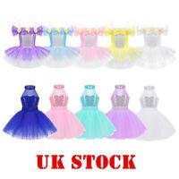 Kids Girls Ballet Dance Tutu Dress Leotard Sequins Ballerina Dancewear Costumes
