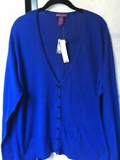 Beverly Drive Women's Blue Cotton/Rayon Button Up Cardigan Size: 1X  NWT