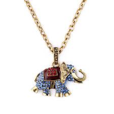 Collier Pendantif Long Sautoir Doré Elephant Cristal Rouge Bleu Original DZ 1