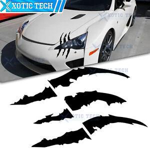 1x Black Scratch Monster Claws Halloween Vinyl Sticker Headlight Decal Die Cut
