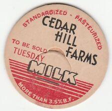 MILK BOTTLE CAP. CEDAR HILL FARMS. CINCINNATI, OH. DAIRY