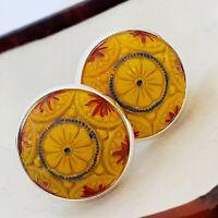 Vintage Preciosa Yellow Orange Mosaic Glass - Large Round Silvertone Cufflinks