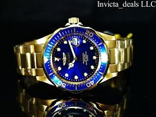 NEW Invicta Men's 38mm Pro Diver Quartz Blue Dial 18K Gold Plated SS Watch