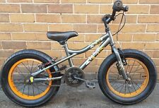 "Phat Bigfoot Fat Tyre BMX Kids Bike Grey Orange 16"" Wheels Brakes Free Delivery"