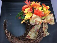 Fall Autumn Thanksgiving WICKER CORNUCOPIA Table Centerpiece Decor Basket Bow