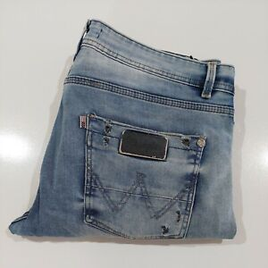 Wrangler Men's Blue Stretch Denim Jeans Size 34 Distressed