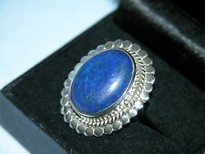 LOT 14 STUNNING LARGE OVAL LAPIS LAZULI SOLID STERLING SILVER RING SIZE I 1/2