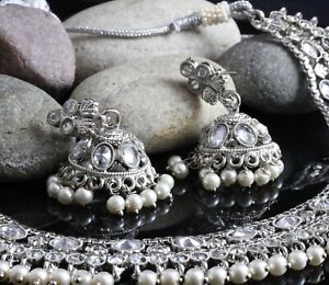Indian Bollywood Silver Gold Plated Kundan Necklace Earrings Wedding Jewelry Set