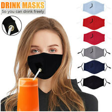 Adult Mens Womens Protective Cotton Blend Face Mask Drinking with Hole for Straw