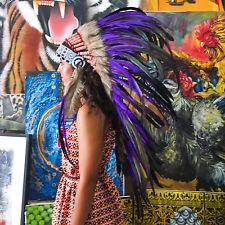 INDIAN HEADDRESS Purple Feathers Chief War bonnet Costume Native American