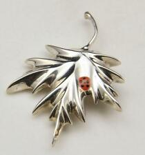 Vintage Mexico Sterling Silver Leaf Enamel Lady Bug Pin Brooch or Pendant Signed