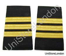 Epaulet Pilot Epaulette Sliders 3 Gold Bars First Officer Black Cloth R1296