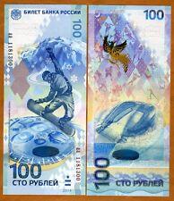 Russia, 100 rubles, 2014, P-New, Vertical Hybrid Polymer, UNC > Sochi Olympics