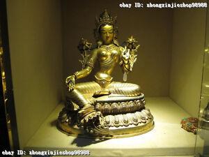 Tibet Buddhism 100% Purple Bronze 24K Gold Green TaRa padma GuanYin Nepal Statue