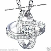 925 Silver Pendant Necklace Chain Xmas Jewellery AAA Crystals Gift For Her Women