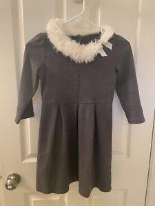 Janie and Jack Festive Fox Faux Fur Collar Ponte Dress Gray Girls Size 12