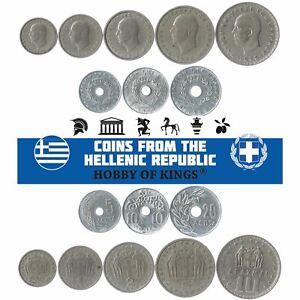 SET OF 8 COINS FROM GREECE. 5, 10, 20, 50 LEPTA, 1, 2, 5, 10 DRACHMAS. 1954-1965