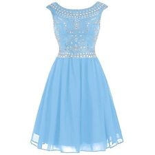 NEW: Cute! Blue Chiffon Beaded Homecoming Dress Short V-back Cocktail Dress