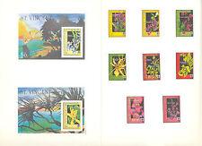 St Vincent #1362-1371 Orchids, Expo 90 8v & 2v S/S Imperf Proofs in Folder