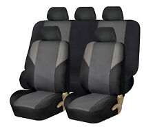 Cross Weave Gray Black Fabric 2Row Car Auto Seat Covers Airbag Safe Split Bench