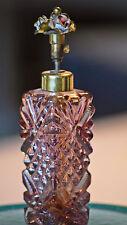 Irice Perfume Bottle Purple Glass Metal Hand Painted Flower Pump
