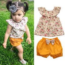 2pcs Floral Toddler Kid Baby Girl Summer Clothes Set T-Shirt Tops+Shorts Outfits