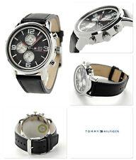 NIB TOMMY HILFIGER 1710335 Black Dial Black Leather Strap Men's Watch MSRP $165