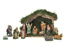 Krippe Holzkrippe Weihnachts-Krippe mit elf Porzellanfiguren Krippenszene Holz