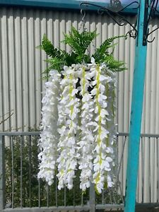Brand New Handmade XL Trailing Silk Wisteria Flower Hanging Baskets