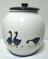 Geese Duck Vintage blue Cookie Jar Rosenthal Netter Inc Italy large Rare