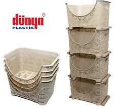 4 Tier Stacker Nester Rack Storage Lace Vegetable Basket Kitchen Office Cream