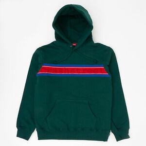Supreme SS19 Chest Stripe Logo Hooded Sweatshirt camp box hat logo cap Green