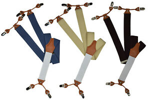 Formal Suspenders/Braces with 6 Clip Design, White Rear and Tan Leather