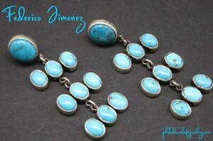FEDERICO JIMENEZ-3-Tier-Gem Grade Sleeping Beauty Turquoise-925 Cluster Earrings