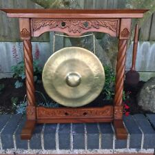 More details for antique burmese temple dinner gong arts & crafts victorian style brass carved