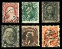 #26A - #163 1857-1873 Used Group of Six Classic U.S. Stamps