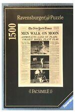 New Ravensburger New York Times MEN WALK ON MOON 1500 Piece Jigsaw Puzzle 1994