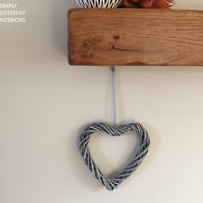 Small Rustic Grey Willow Wicker Hanging Open Heart -15cm