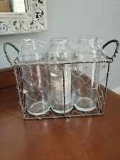 Set of 3 Clear Glass Bottles in a Wire and Metal Container with Handles