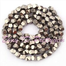 """5-6mm Natural Freeform Faceted Pyrite Gemstone Beads For Jewelry Making 15"""""""