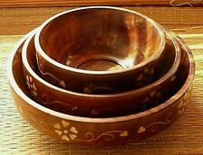 Set of 3 wooden snack bowls with inlaid brass detail nibble bowls wood nut bowl